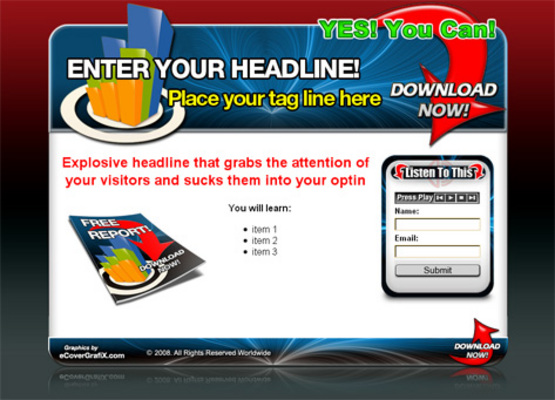 Product picture Hot 3 Audio Squeeze Page Templates