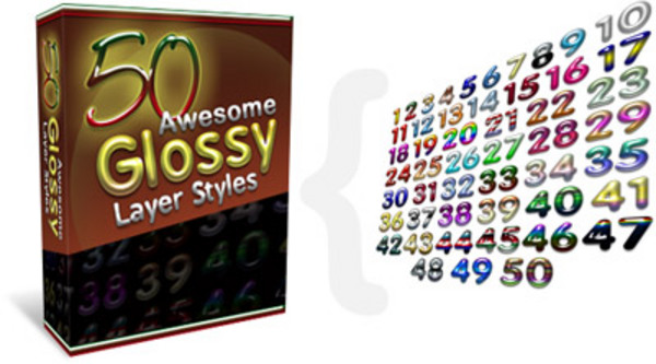 Product picture NEW!* 50 Brand New Awesome Glossy Layer Styles MRR*